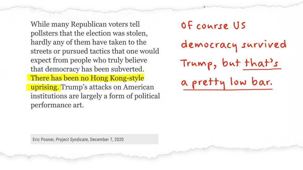 """""""There has been no Hong Kong-style uprising."""" Of course US democracy survived Trump, but that's a pretty low bar."""