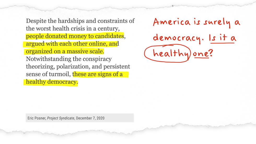"""""""...these are signs of a healthy democracy."""" America is surely a democracy,. Is it a healthy one?"""