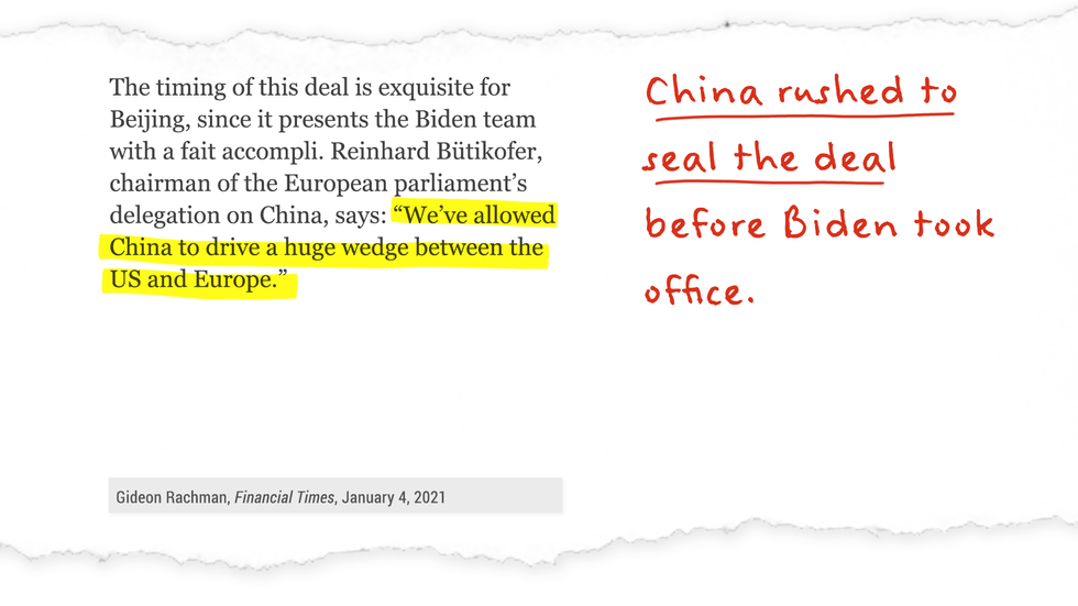 """We've allowed China to drive a huge wedge between the US and Europe."" China rushed to seal the deal before Biden took office."