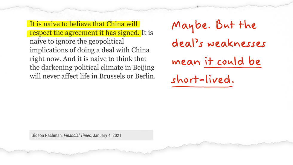 """It's naive to believe that China will respect the agreement it has signed."" Maybe. But the deal's weaknesses mean it could be short-lived."