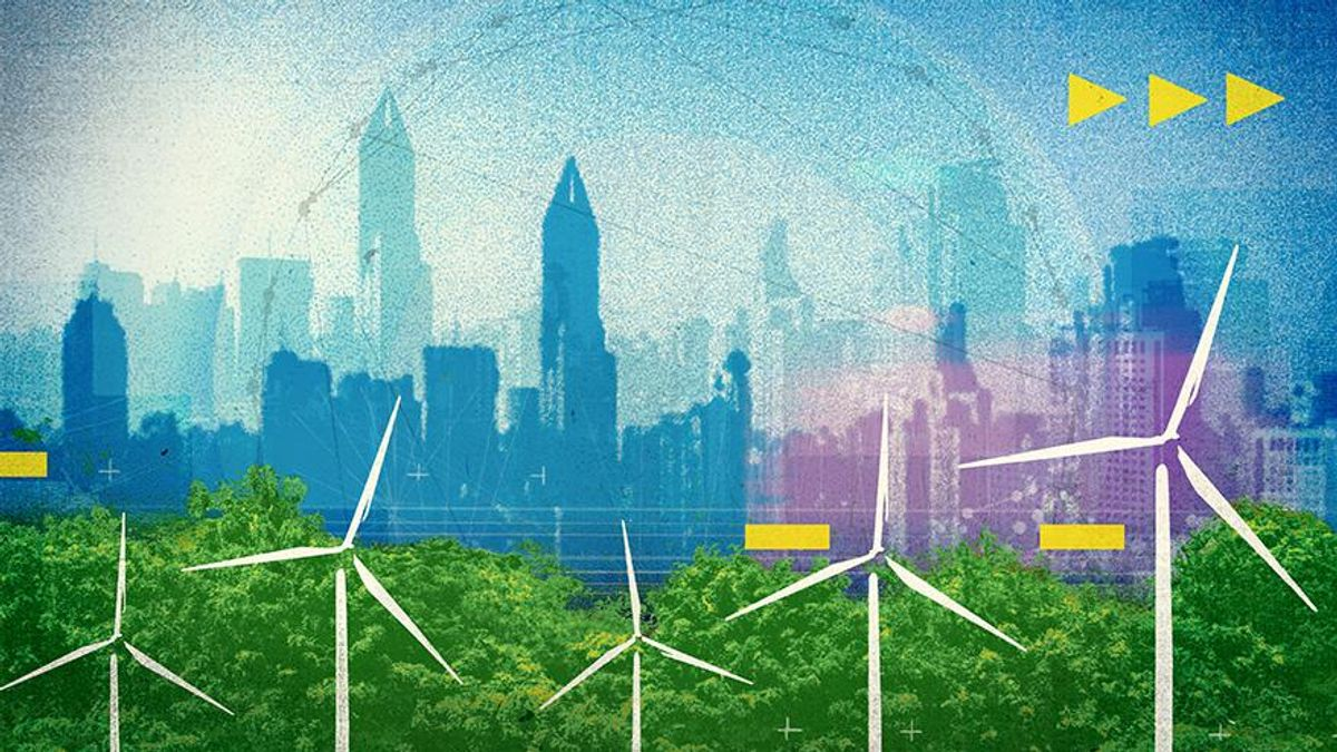 Working as a global community to solve our greatest challenges - abstract image of wind turbines and city skyline
