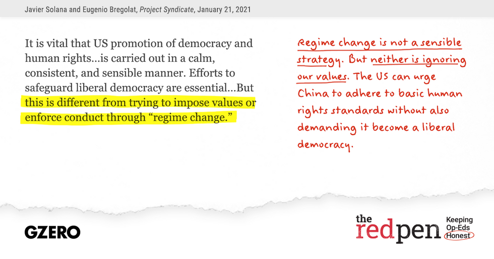"""""""But this is different from trying to impose values or enforce conduct through 'regime change.'"""" Regime change is not a sensible strategy. But neither is ignoring our values."""