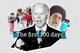 """Joe Biden with copy that reads """"the first 100 days"""""""