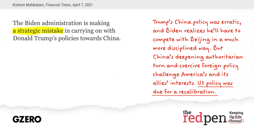 """The Biden administration is making a strategic mistake in carrying on with Donald Trump's policies towards China,"" Trump's China policy was erratic, and Biden realizes he'll have to compete with Beijing in a much more disciplined way. But US policy was due for a recalibration."
