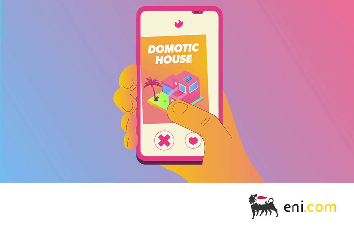 A mobile app for demotics.- domus (home) plus robotics - which are smart houses that manage temperature and lighting to minimize wasted electricity.