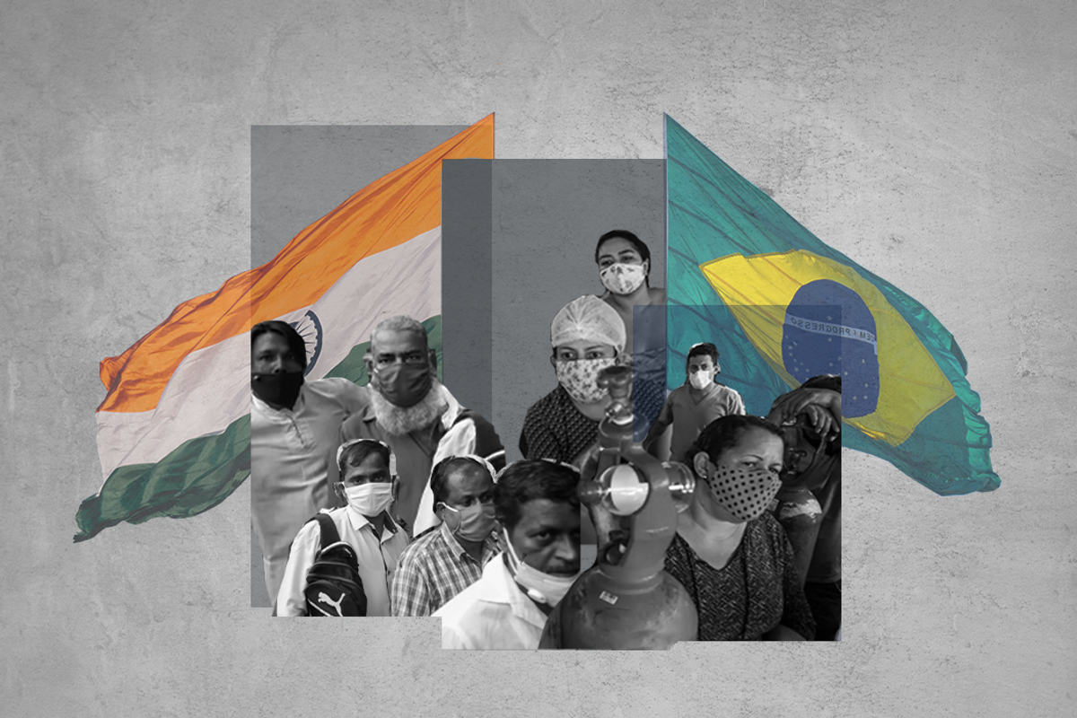 Images depicting India and Brazil's COVID crises