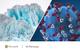 split image of glaciers and a coronavirus, up close