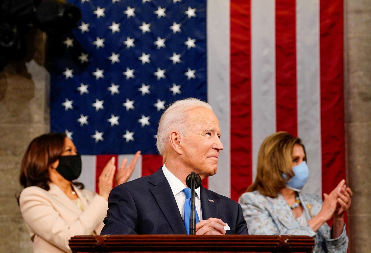 President Joe Biden addresses a joint session of Congress, with Vice President Kamala Harris and House Speaker Nancy Pelosi (D-Calif.) on the dais behind him, in Washington, U.S., April 28, 2021.