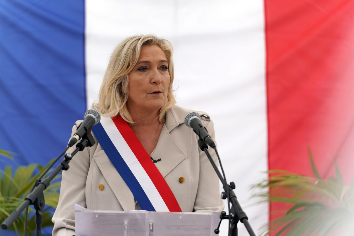 """French far-right party """"National Rally"""" (Rassemblement National) president and member of Parliament Marine Le Pen delivers a speech as she attends the 76th anniversary since WWII end commemoration on May 08, 2021"""