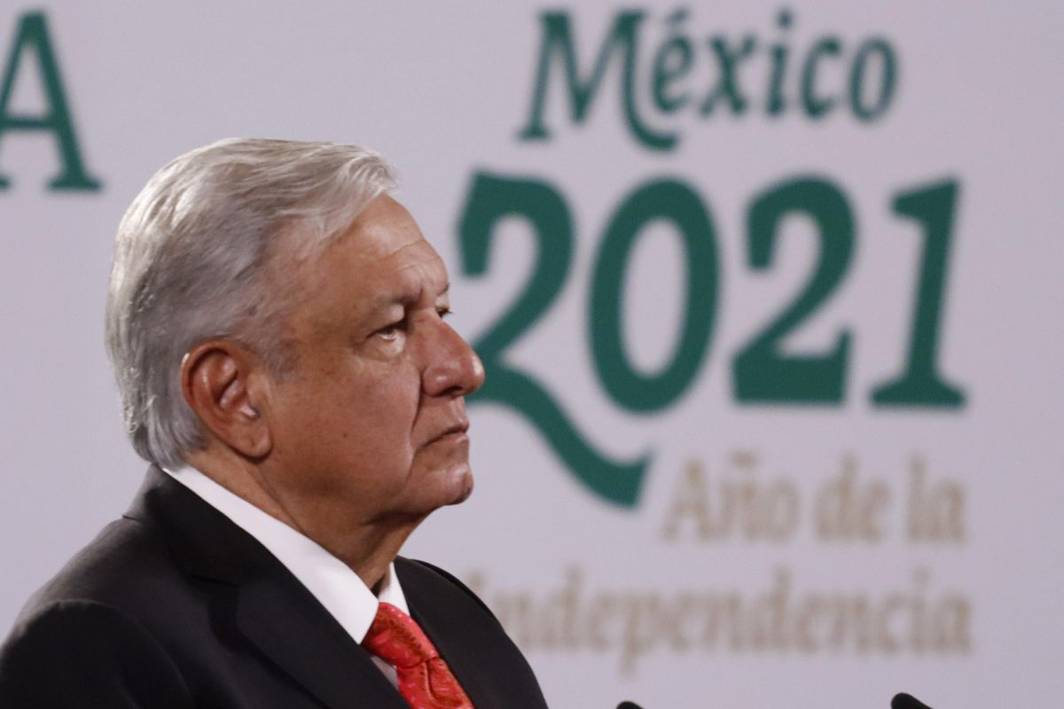 Mexico's President Andres Manuel Lopez Obrador speaks during Covid-19 vaccination program press conference at National Palace on June 3, 2021 in Mexico City, Mexico.