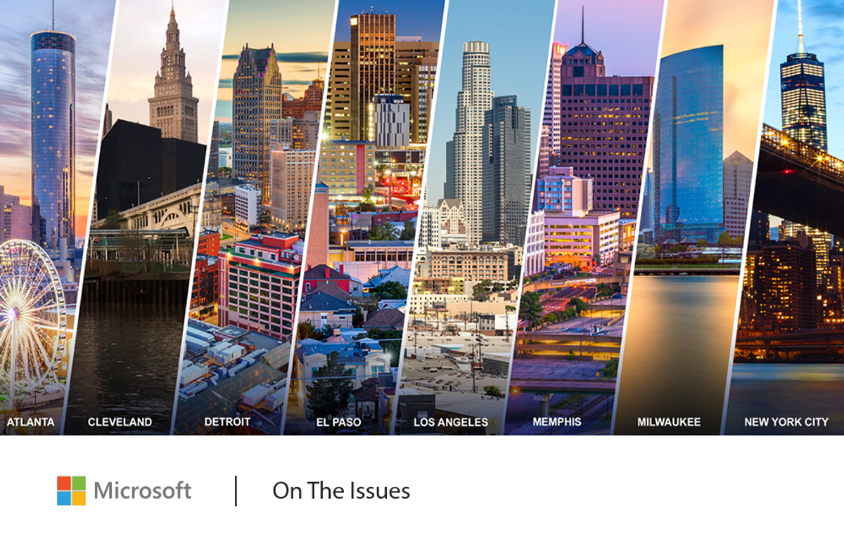 Images of US cityscapes: Atlanta, Cleveland, Detroit, El Paso, Los Angeles, Memphis, Milwaukee, and New York City.