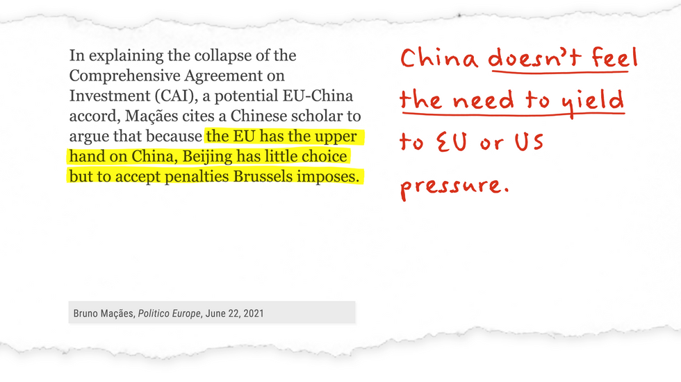 """""""...Macaes cites a Chinese scholar to argue that because the EU has the upper hand on China, Beijing has little choice but to accept penalities Brussels imposes."""""""