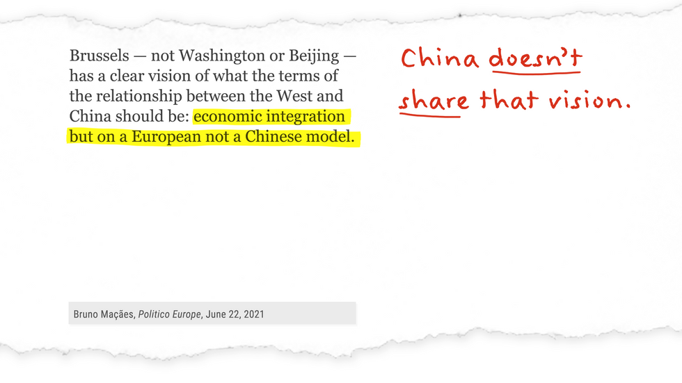 """""""Brussels...has a clear vision of what the terms of the relationship between the West and China should be: economic integration but on a European not a Chinese model."""""""