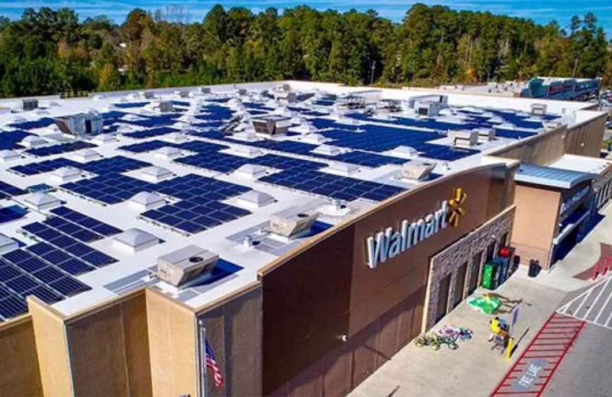 Energy panels on the roof of a Walmart store location