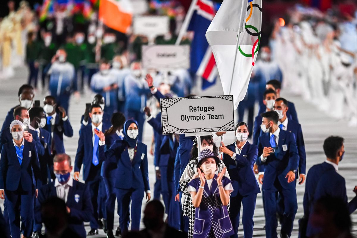 Refugee Olympic Team during the Opening Ceremony of the Tokyo 2020 Olympic Games on July 23, 2021 in Tokyo.