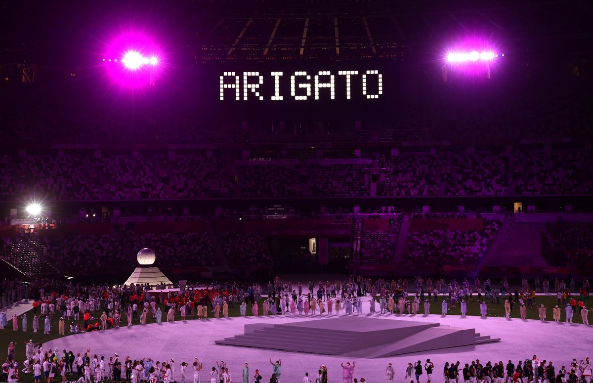 """: The scoreboard shows """"ARIGATO"""" (the Japanese for 'thank you') during the closing ceremony of the 2020 Summer Olympic Games at the Japan National Stadium (a.k.a the Olympic Stadium). The Olympic Games were held amid the COVID-19 pandemic. The closing ceremony features live and pre-recorded elements. Stanislav Krasilnikov/TASS.No use Russia."""
