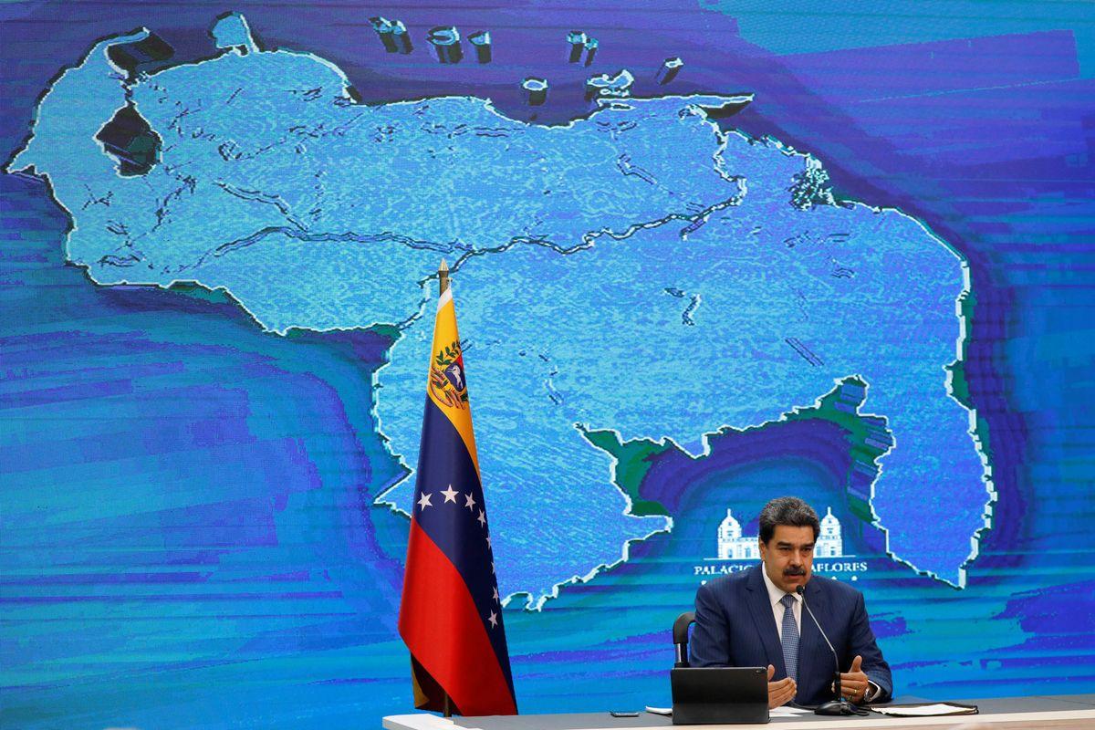 Venezuela's President Nicolas Maduro addresses the media from the Miraflores Palace, in Caracas, Venezuela August 16, 2021
