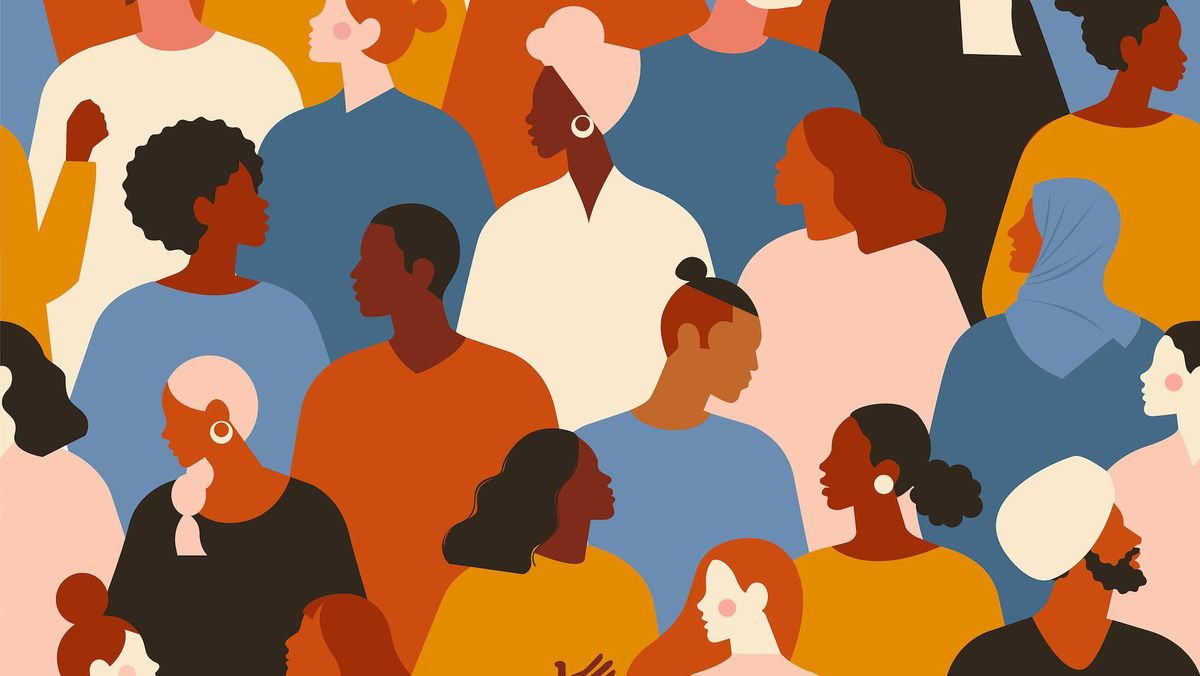 Colorful illustration of a diverse group of people