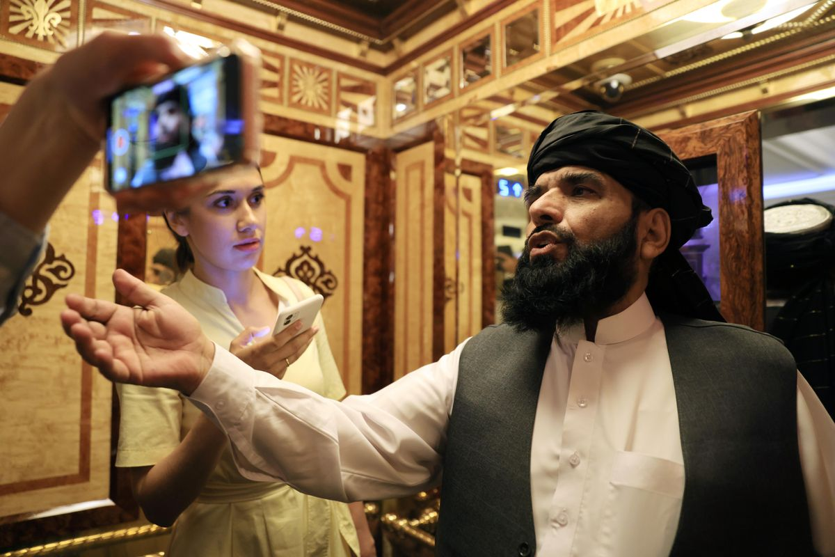 Taliban spokesman Suhail Shaheen leaves after a news conference in Moscow, Russia July 9, 2021.