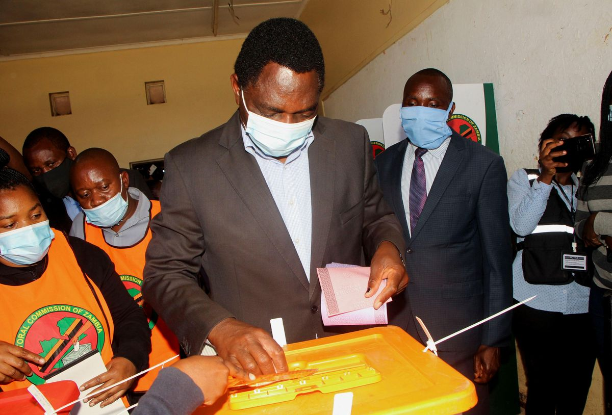Opposition UPND party's presidential candidate Hakainde Hichilema casts his ballot in Lusaka, Zambia, August 12, 2021.