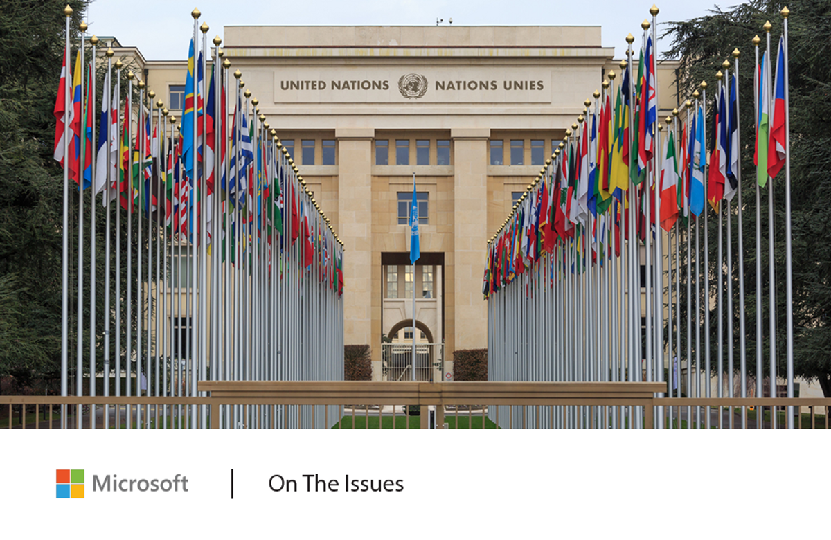 Exterior of United Nations building with country flags