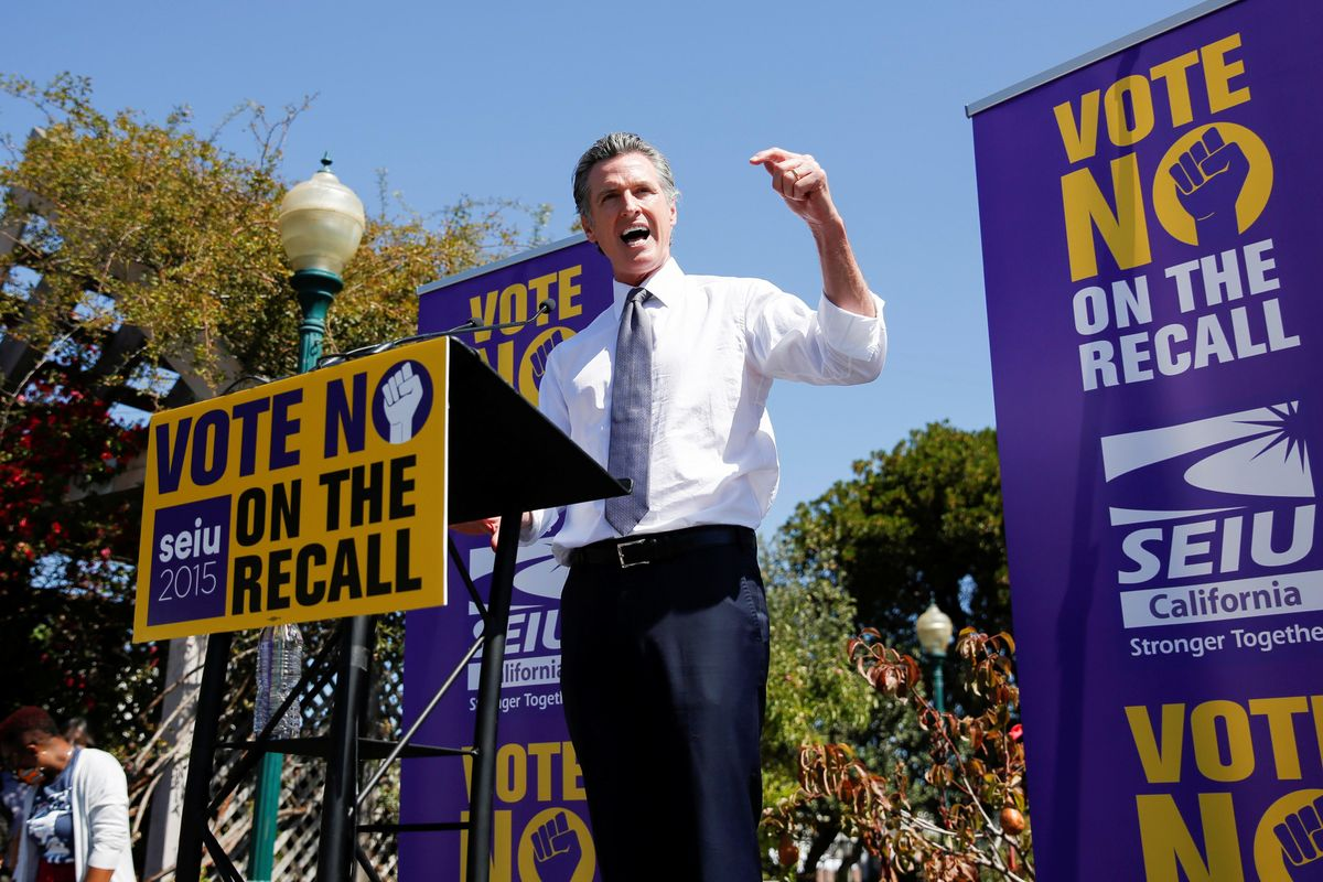 California Governor Gavin Newsom speaks at St. Mary's Center during a Stop The Recall rally ahead of the Republican-led recall election, in Oakland, California, U.S., September 11, 2021.