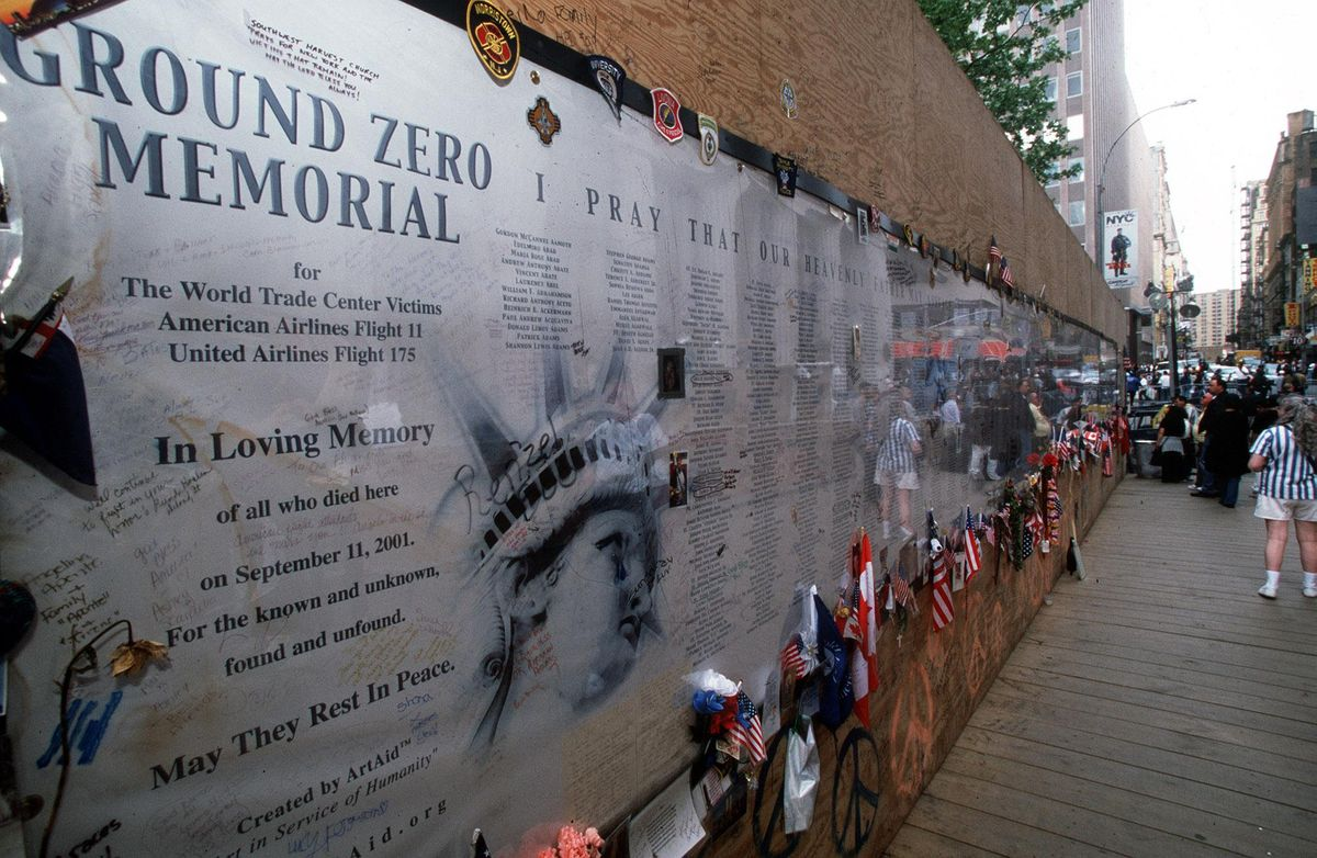 A memorial to those that lost their lives on September 11th 2001, at ground zero, New York City, New York.