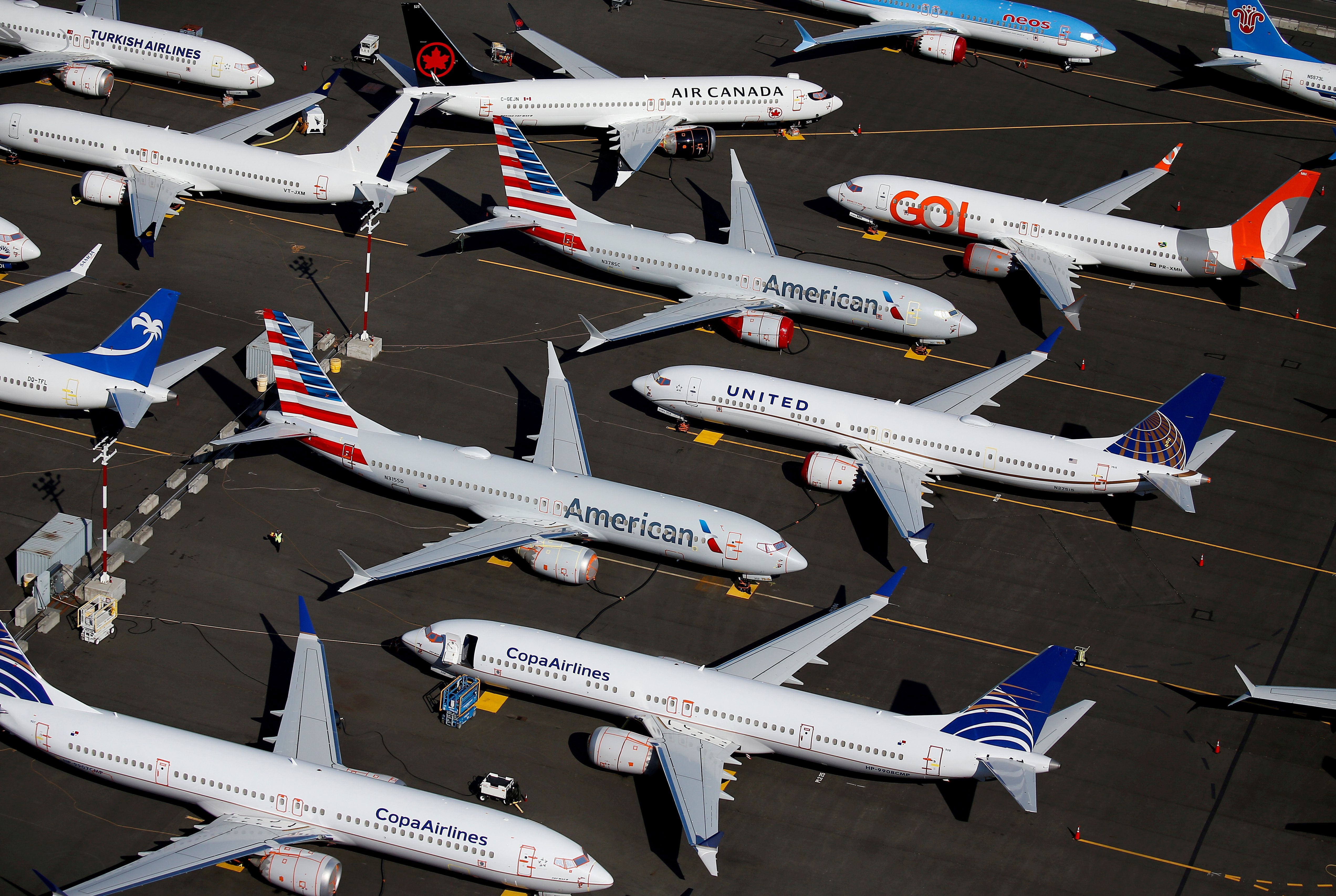 File photo of grounded Boeing 737 MAX aircraft parked at Boeing Field in Seattle. Reuters