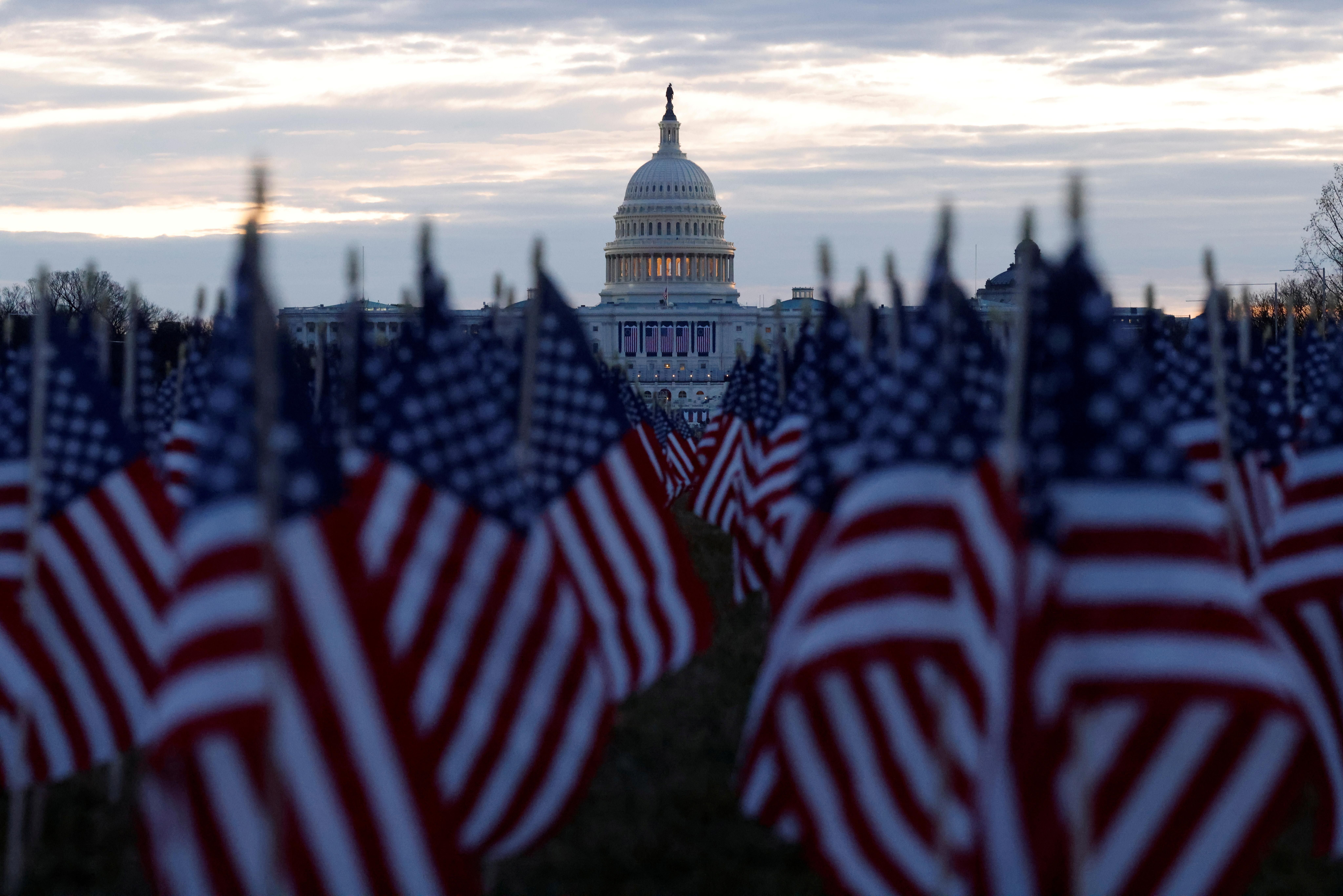 Flags at the US National Mall represent the people who are unable to travel for Joe Biden's presidential inauguration in Washington. REUTERS/Carlos Barria