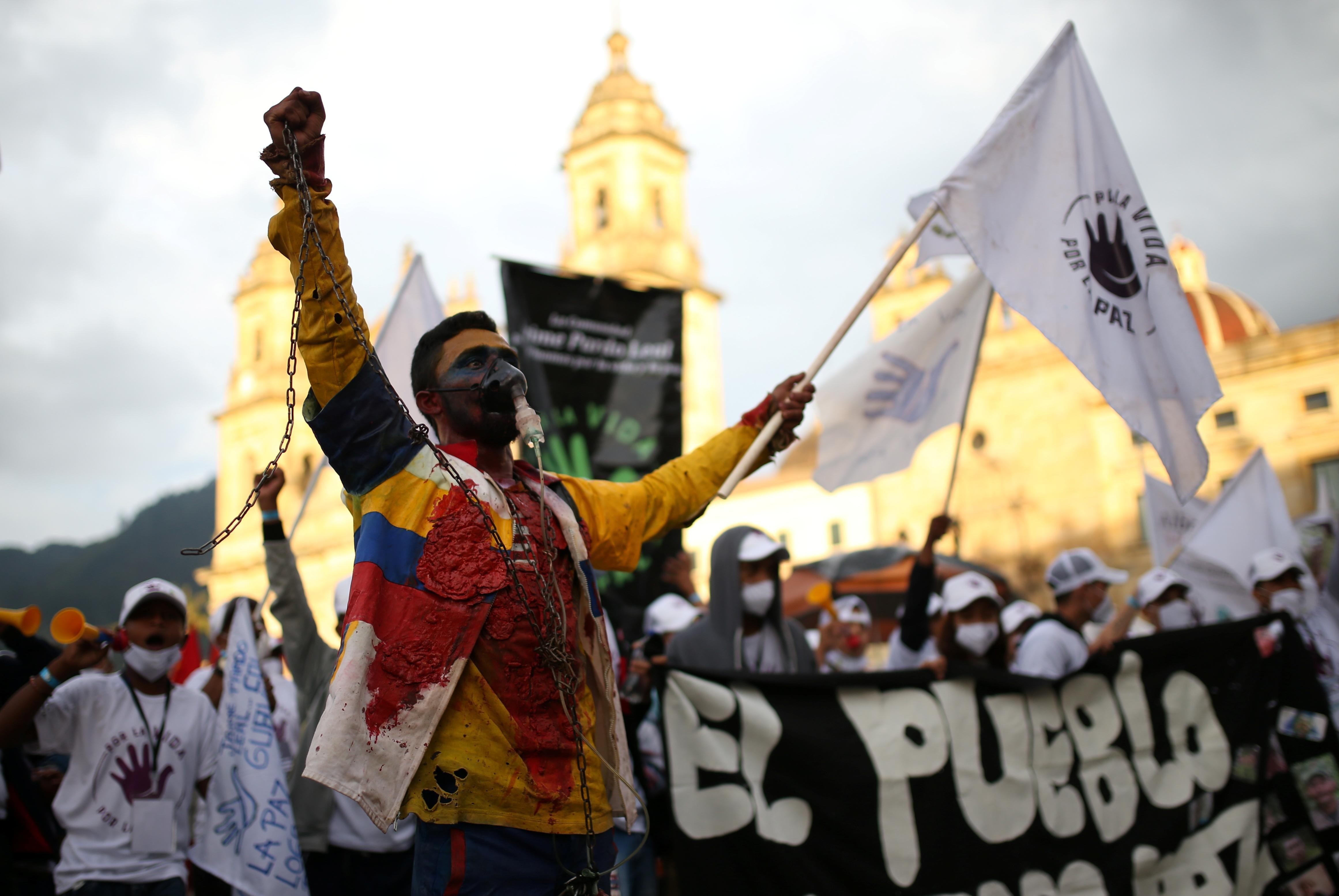 Former FARC guerrillas protest in Bogota, Colombia. Reuters