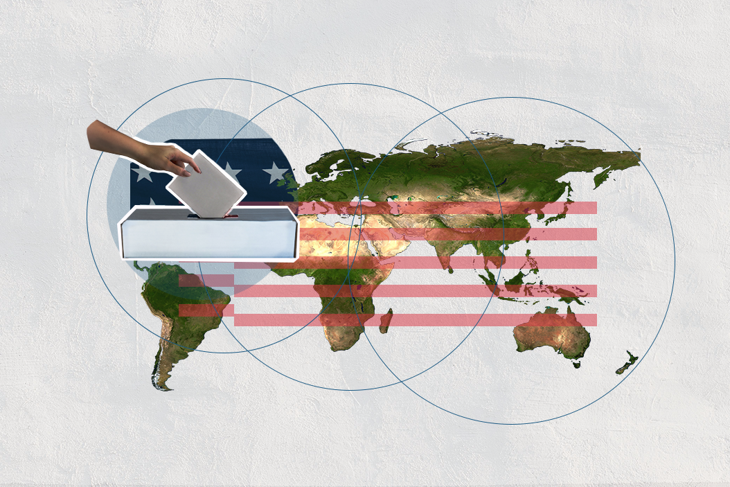 Global voices on the US election - world map and ballot box