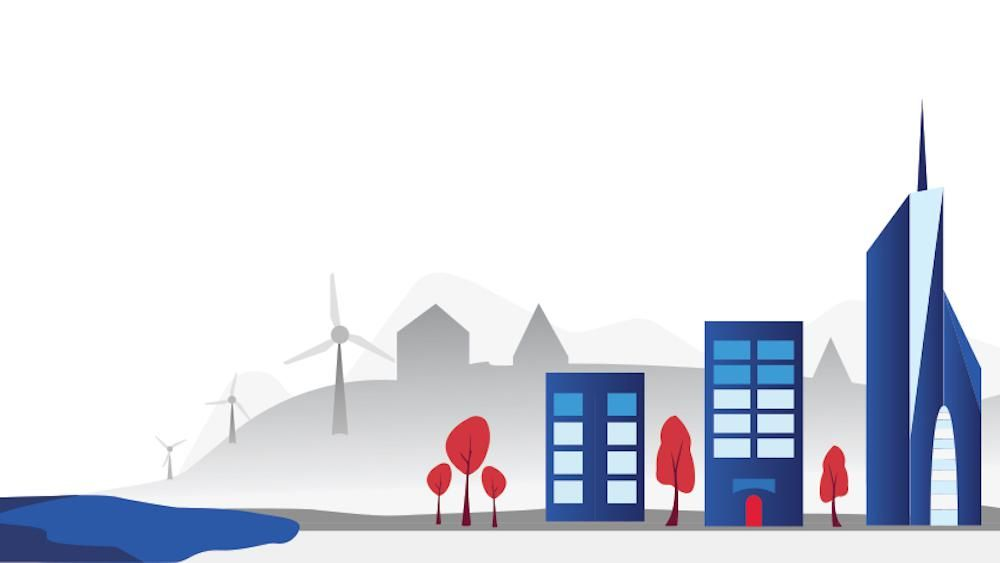 Graphic with a cityscape in the foreground and wind turbines in the background