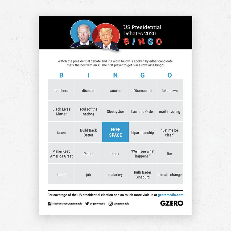 GZERO Presidential Debate Bingo Sept 29 2020 card 1