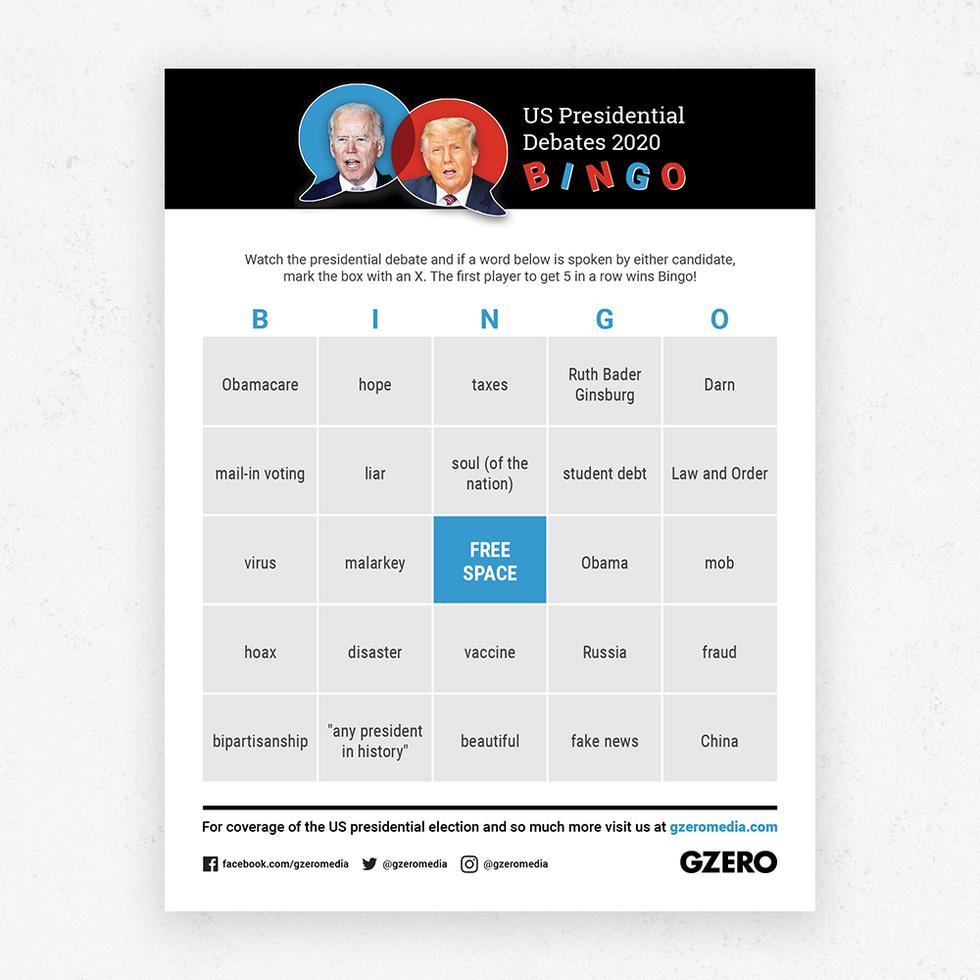 GZERO Presidential Debate Bingo Sept 29 2020 card 2