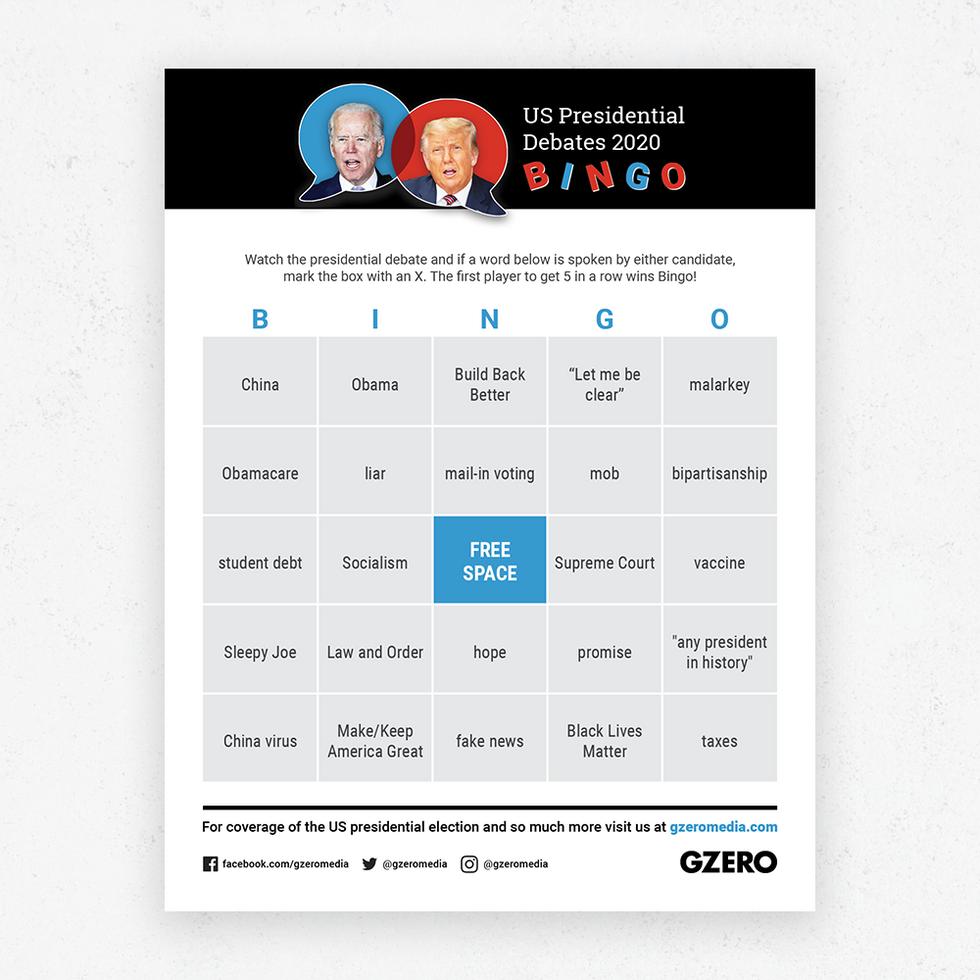 GZERO Presidential Debate Bingo Sept 29 2020 card 3
