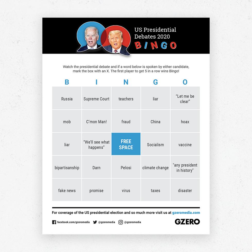 GZERO Presidential Debate Bingo Sept 29 2020 card 4