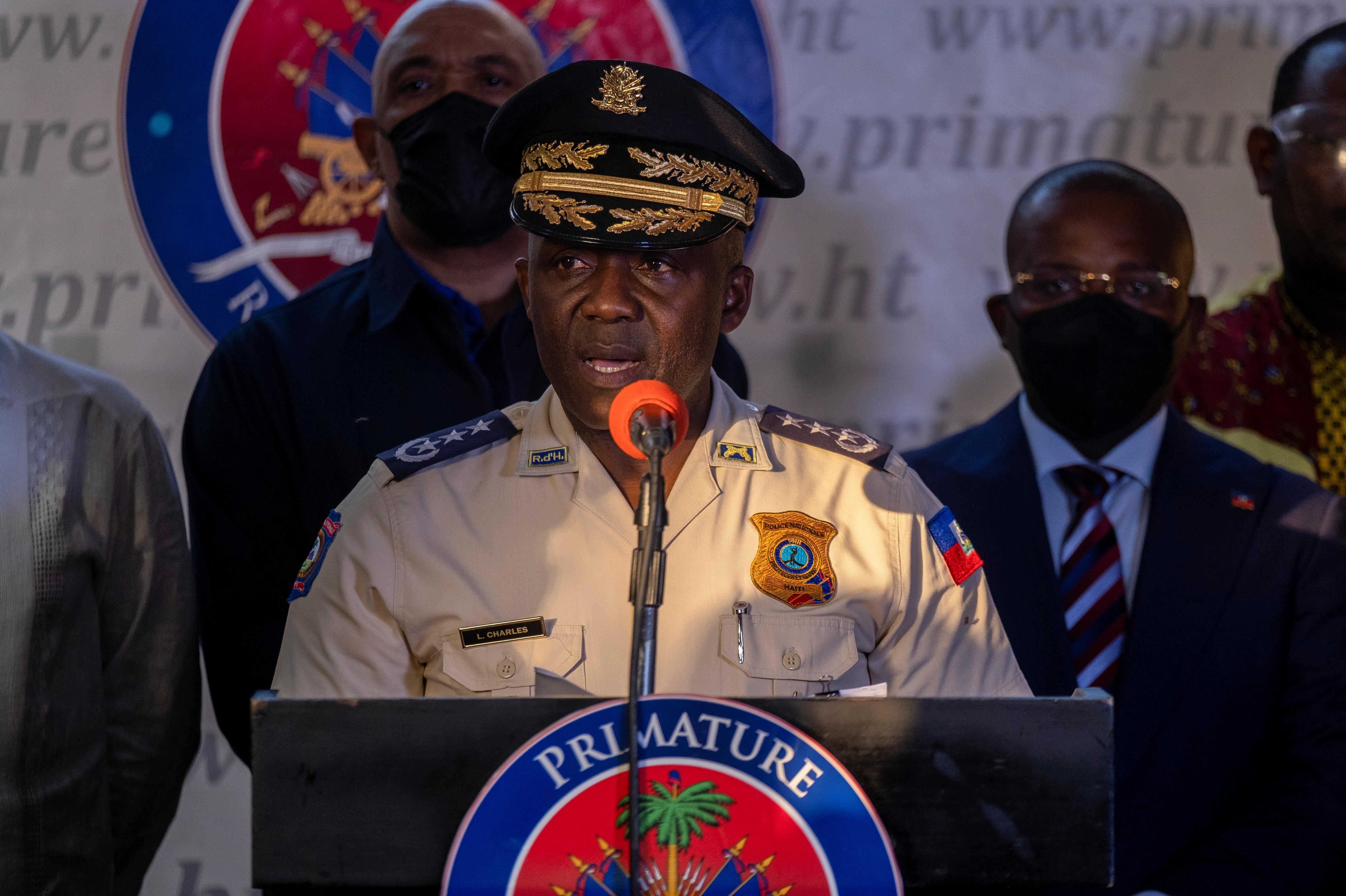Haiti's Head of Haitian National Police, Leon Charles speaks during a news conference following the assassination of President Jovenel Moise, in Port-au-Prince, Haiti July 11, 2021