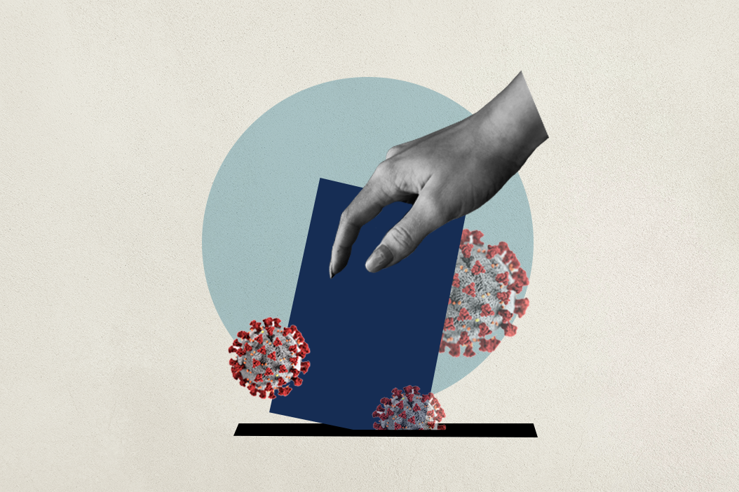illustrated ballot box, surrounded by coronavirus