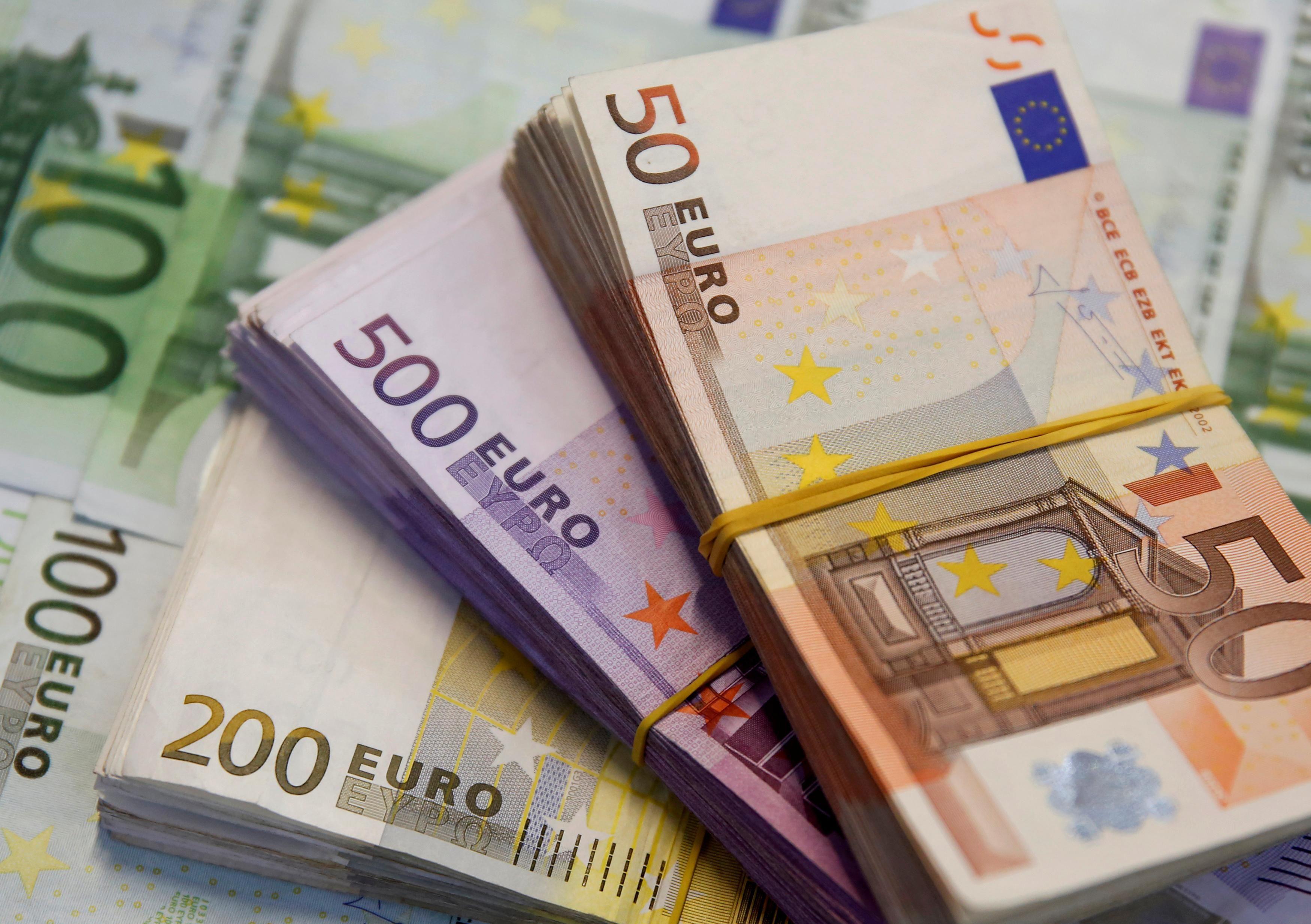 Illustration shows Euro banknotes