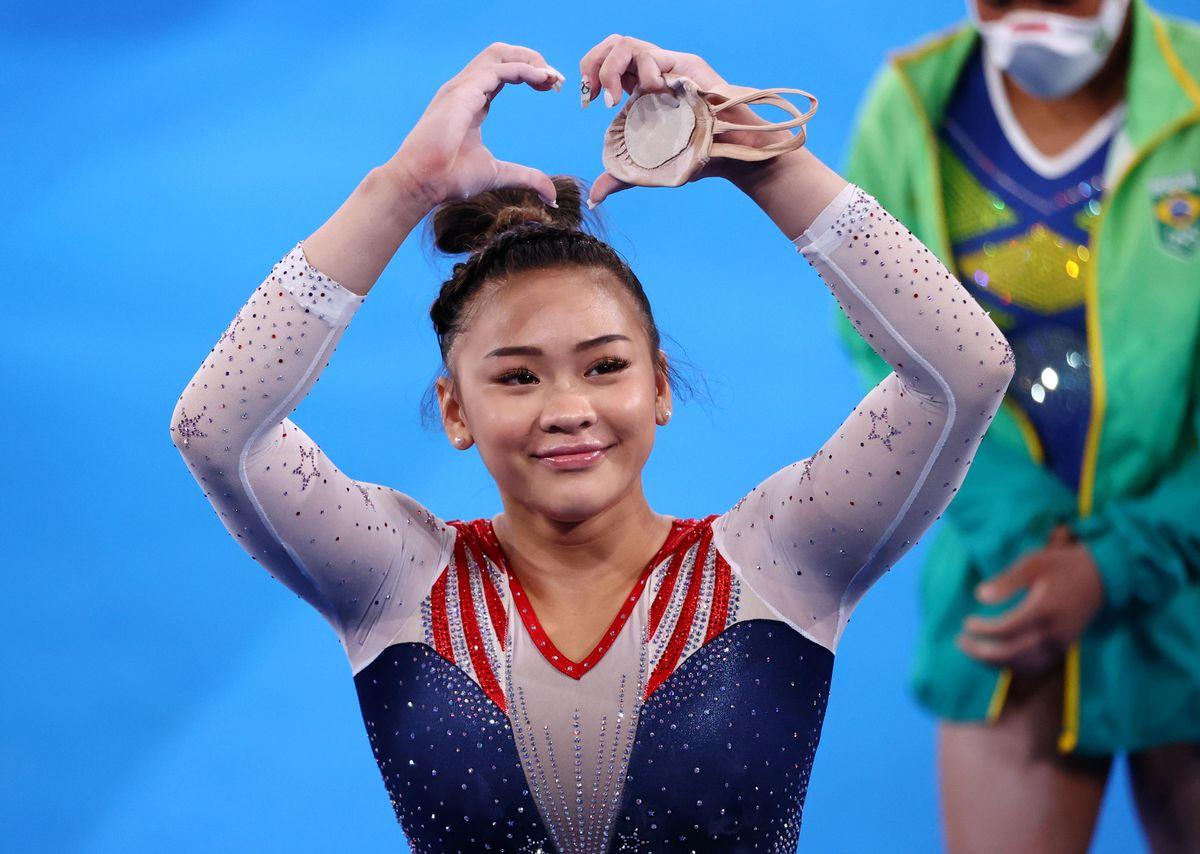 Tokyo 2020 Olympics - Gymnastics - Artistic - Women's Individual All-Around - Final - Ariake Gymnastics Centre, Tokyo, Japan - July 29, 2021. Sunisa Lee of the United States gestures