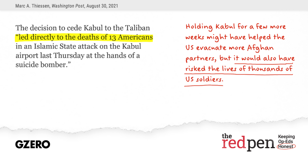 """The decision to cede Kabul to the Taliban """"led directly to the deaths of 13 Americans in an Islamic State attack on the Kabul airport last Thursday at the hands of a suicide bomber."""""""