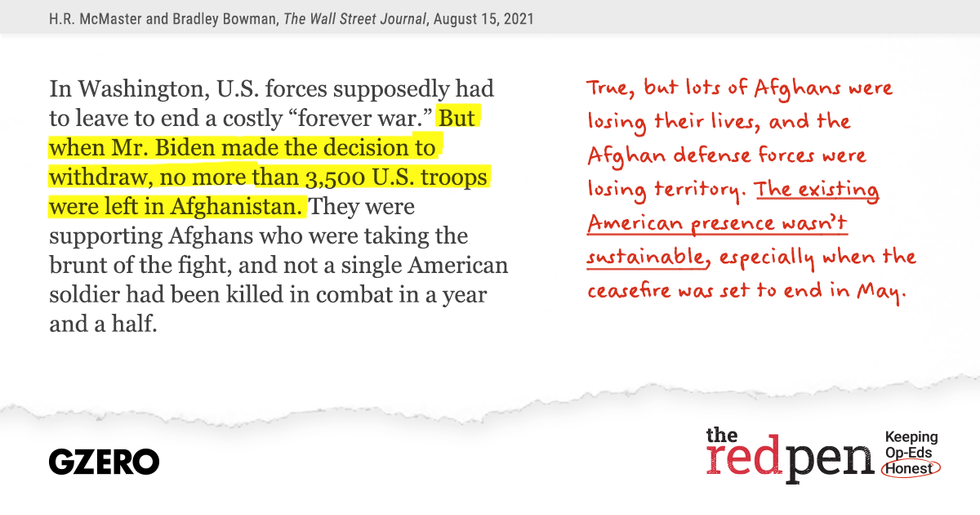 """In Washington, US forces supposedly had to leave to end a costly """"forever war."""" But when Mr. Biden made the decision to withdrawal, no more than 3,500 US troops were left in Afghanistan."""
