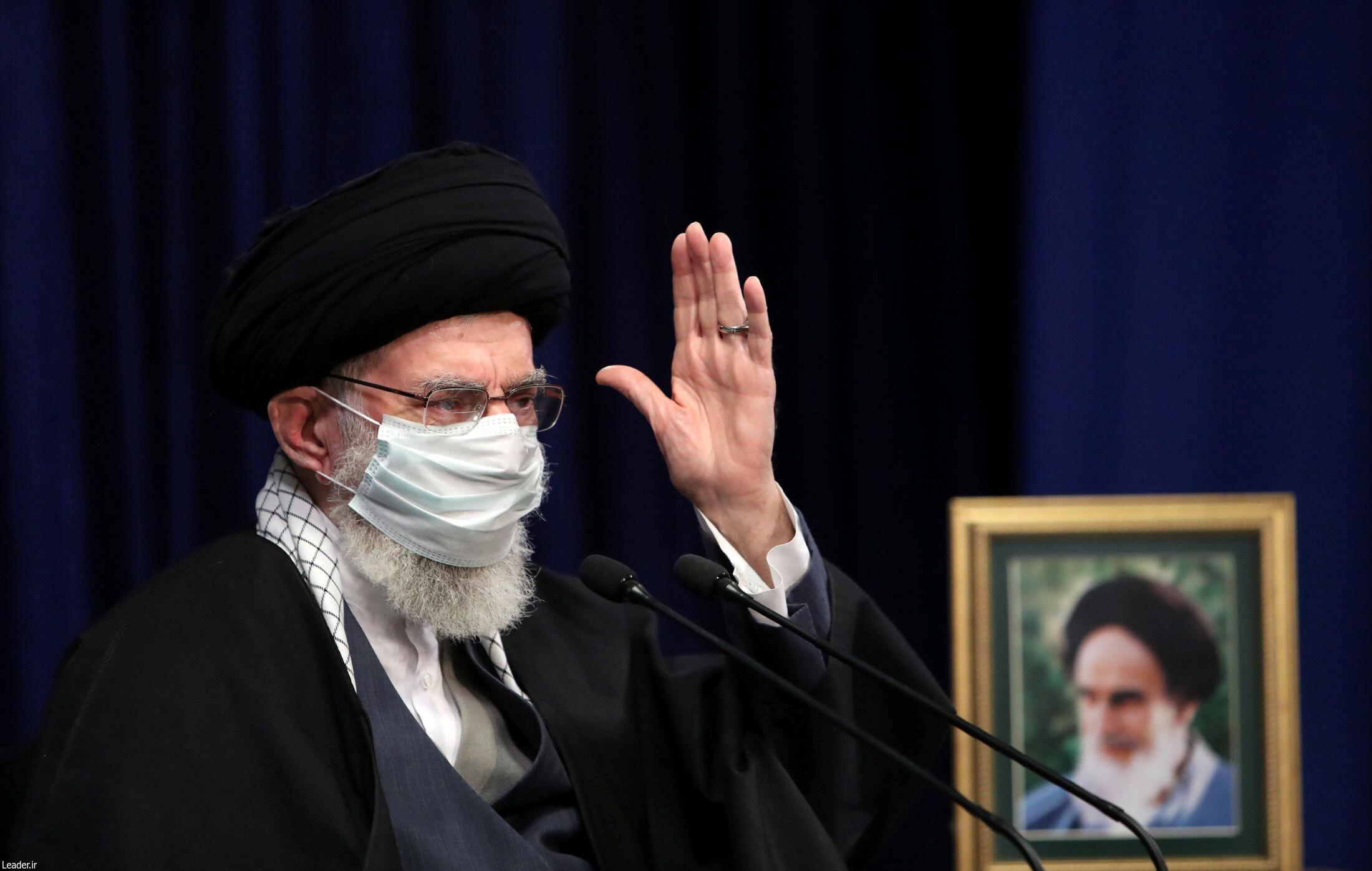 Iran's Supreme Leader Ayatollah Ali Khamenei wears a mask during a virtual speech, in Tehran, Iran February 17, 2021.