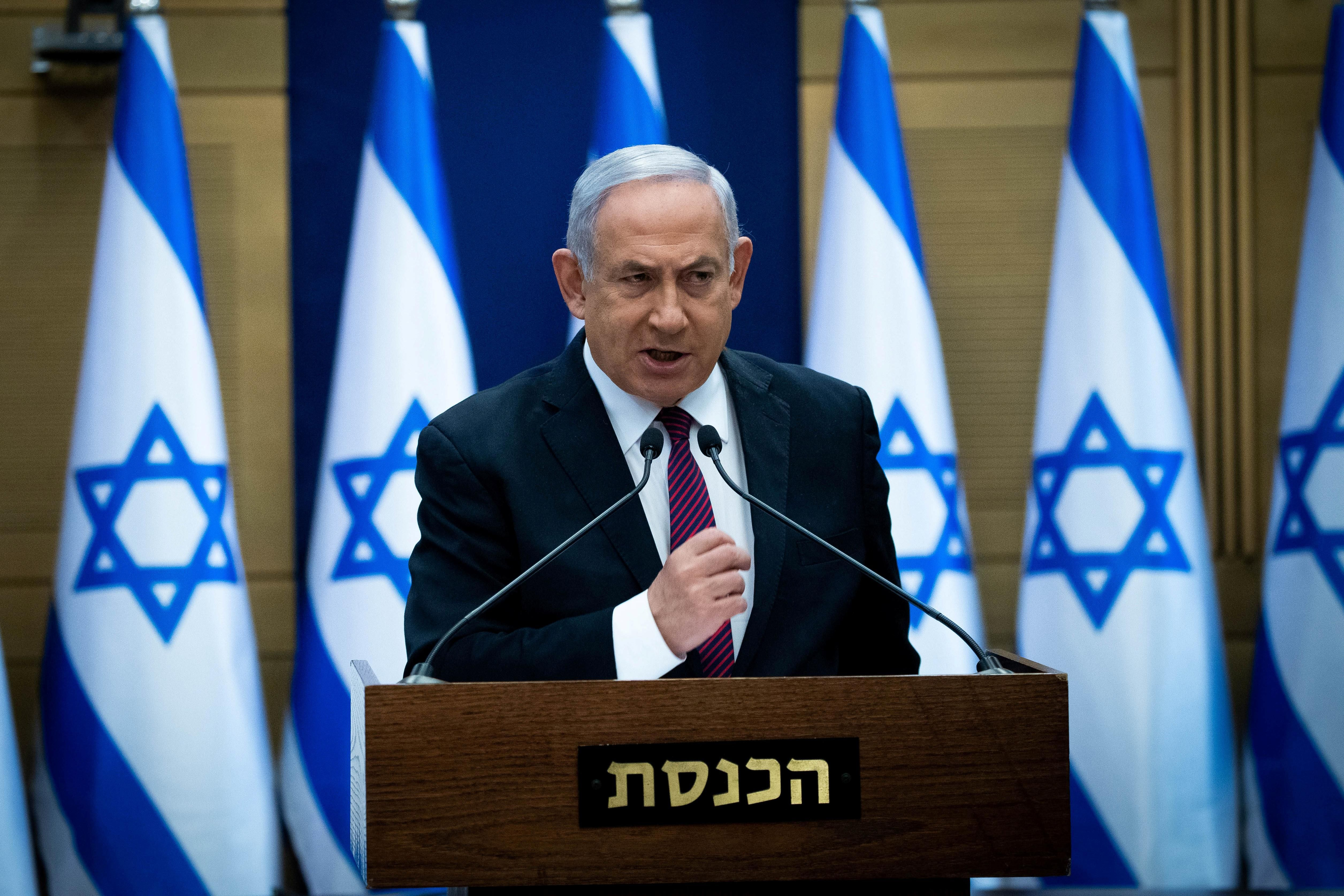 Israeli Prime Minister Benjamin Netanyahu delivers a statement to Likud party MKs at the Knesset (Israel's parliament) in Jerusalem, December 2020.