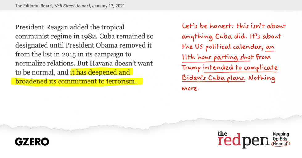 """""""..it has deepened and broadened its commitment to terrorism.""""  Let's be honest: this isn't about anything Cuba did."""