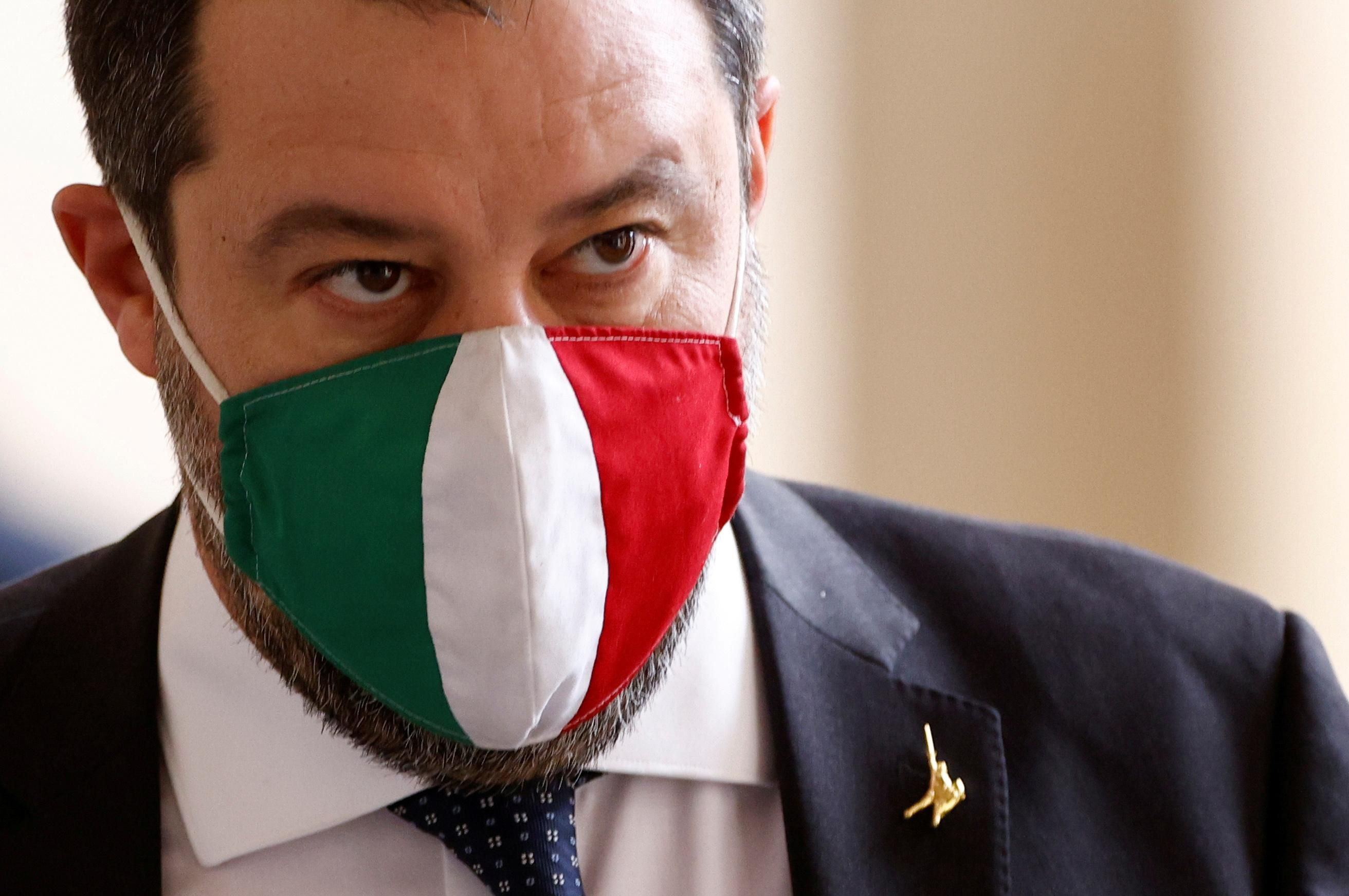 League party leader Matteo Salvini arrives for a meeting with Italian President Sergio Mattarella at the Quirinale Palace in Rome, Italy January 29, 2021.
