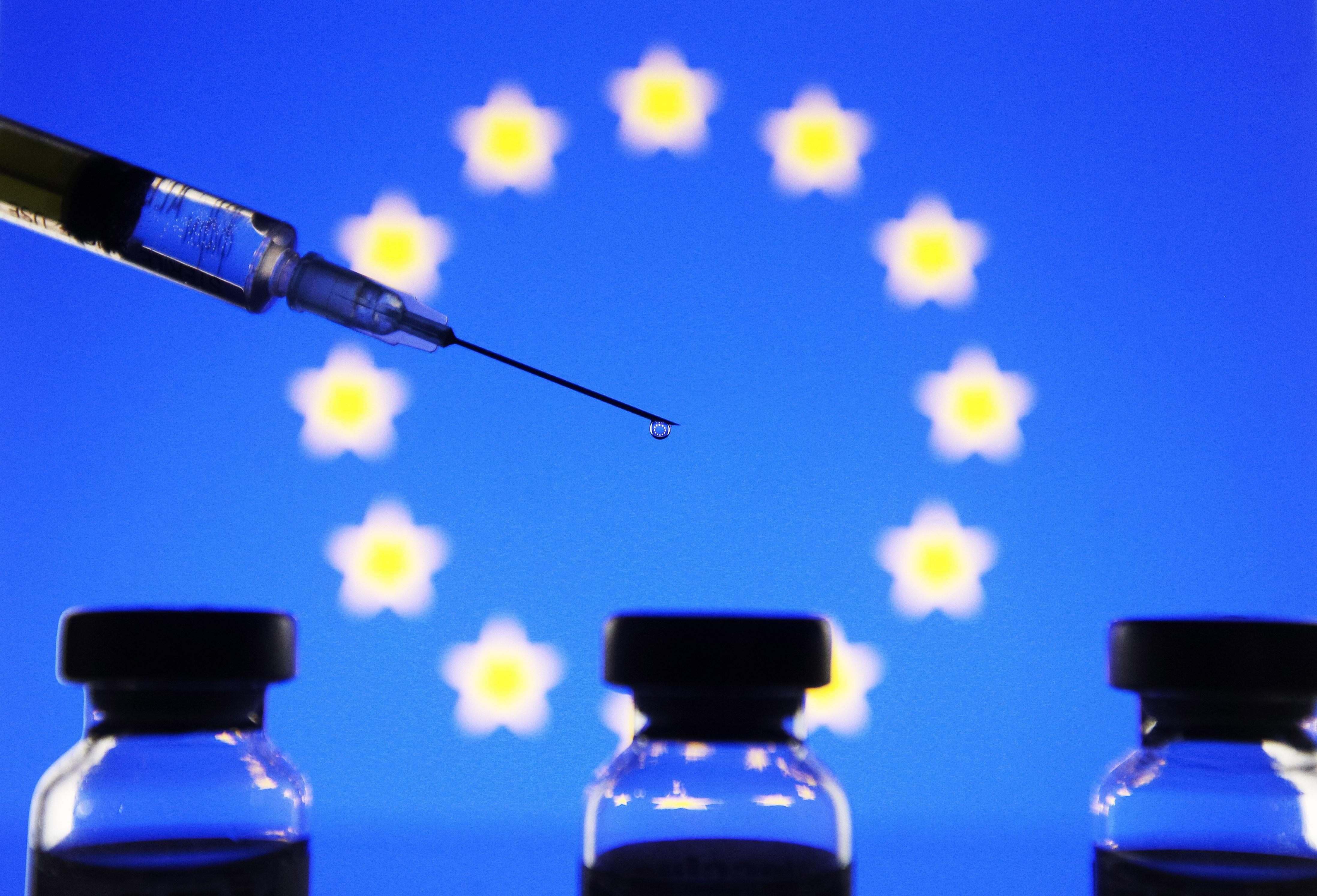 Medical syringe illustrations in Ukraine. Reuters