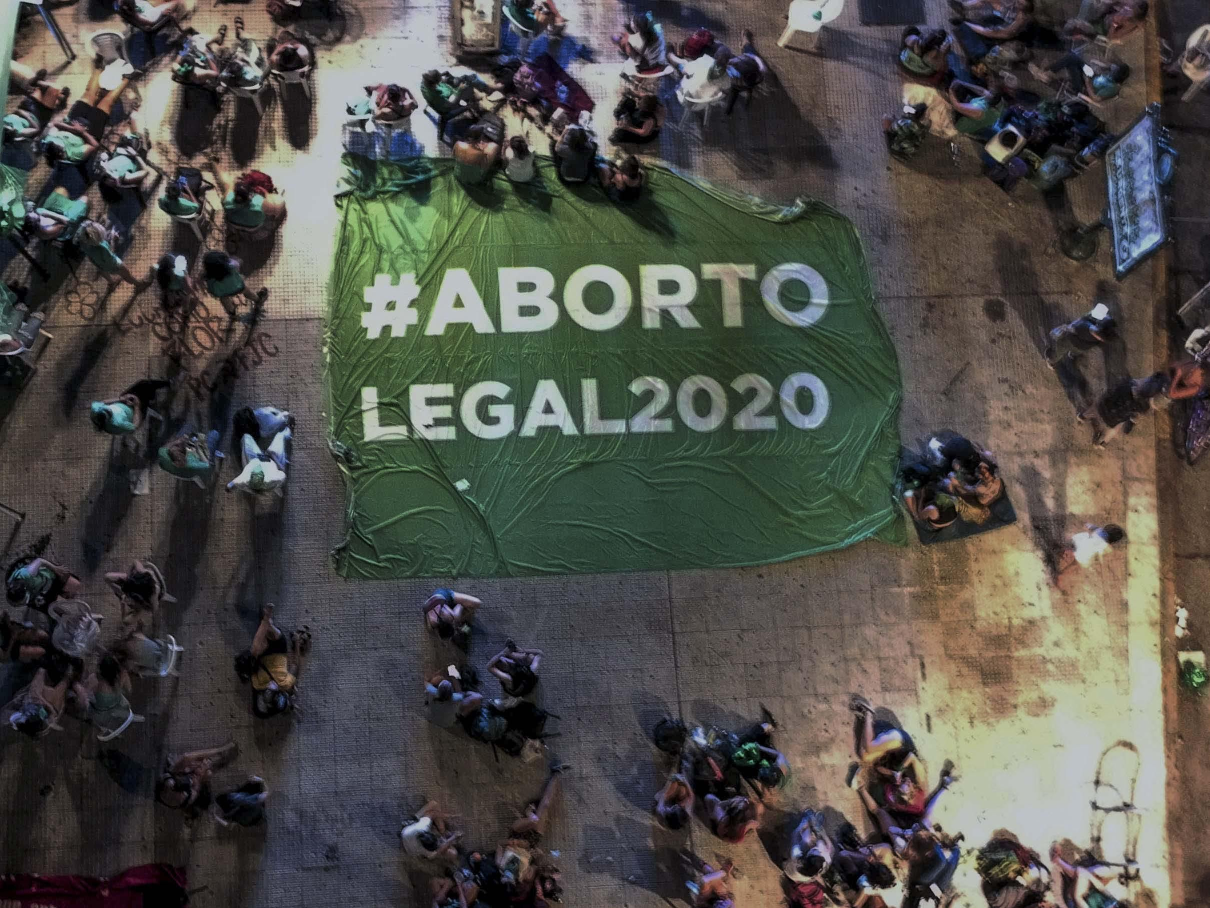n the photo taken on December 10, 2020, mobilization of women in front of the Congress where the approval in Deputies of the legalization and decriminalization of abortion in Argentina was voted.