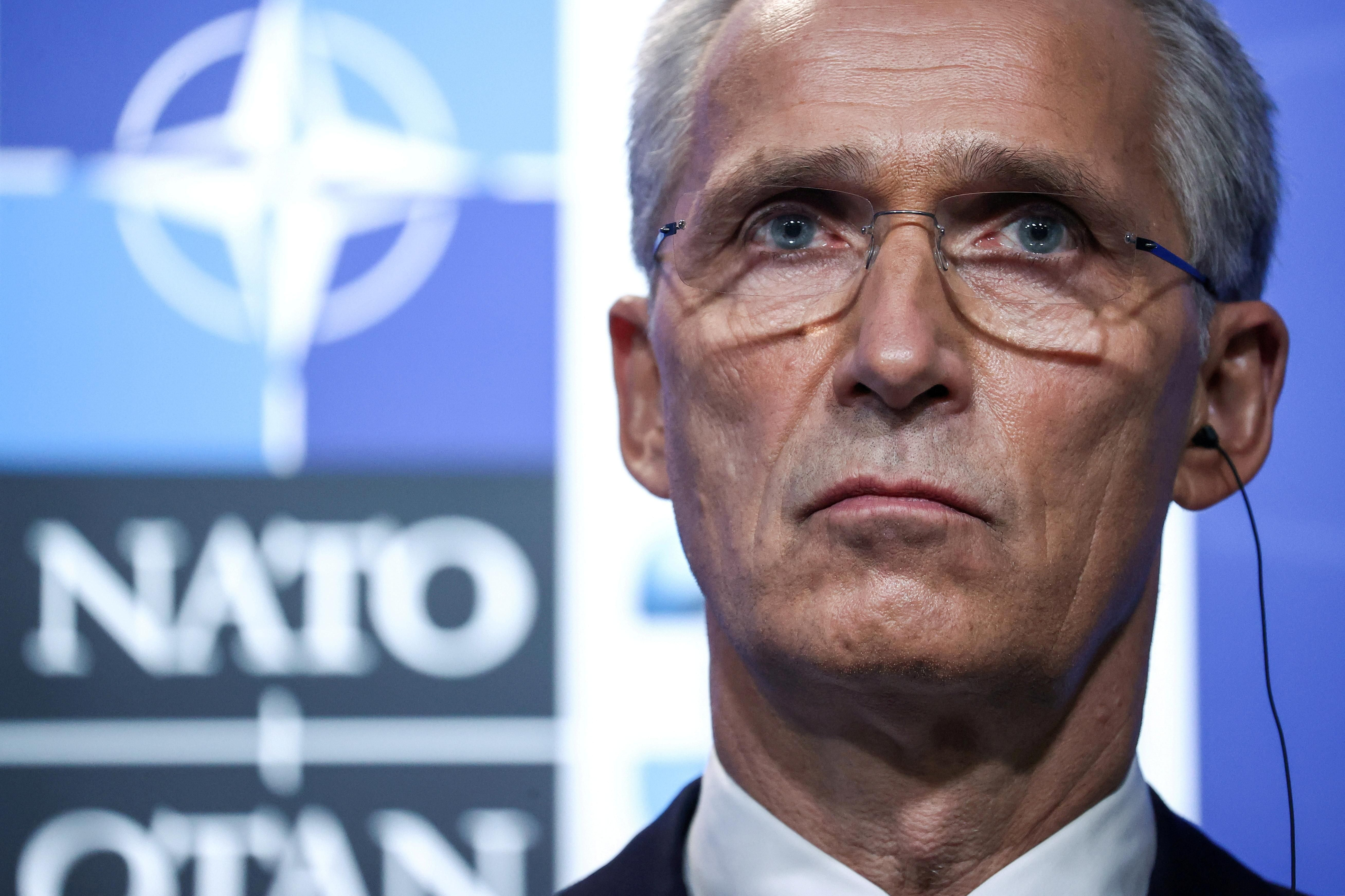 NATO Secretary General Jens Stoltenberg holds a news conference during the NATO summit at the Alliance's headquarters, in Brussels, Belgium,