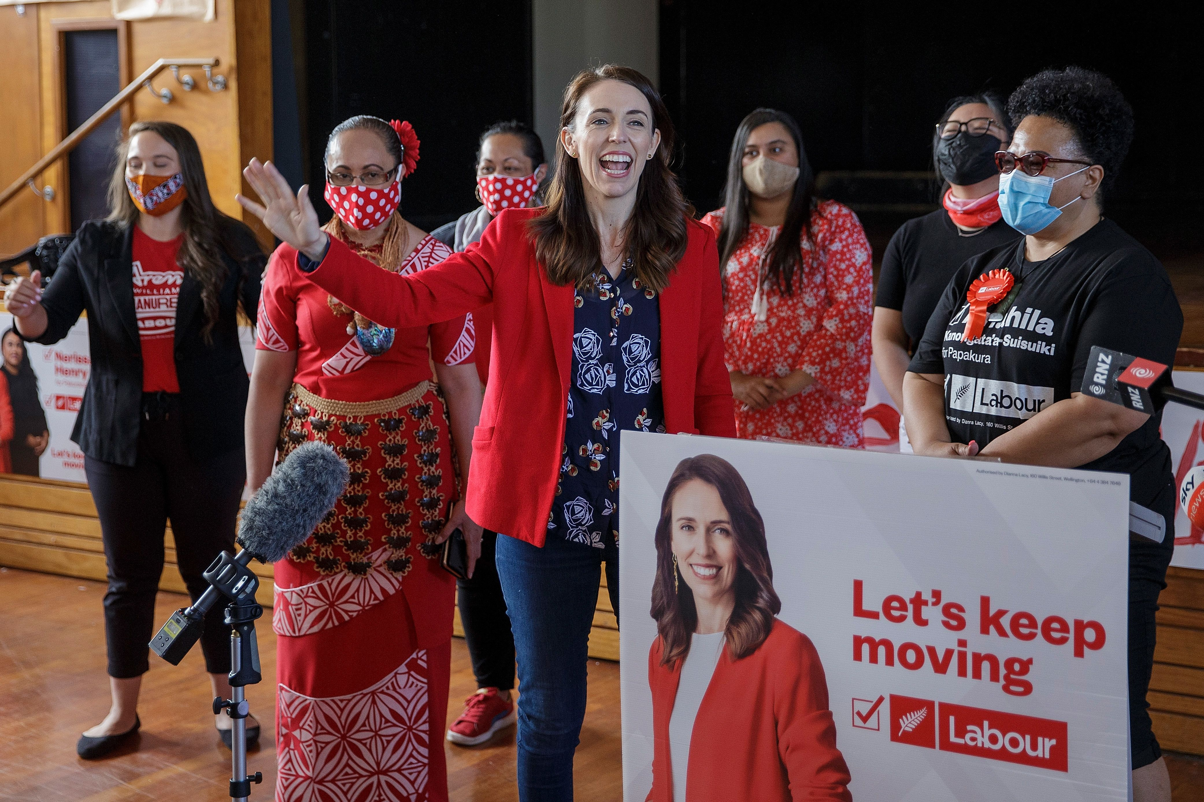 New Zealand Prime Minister Jacinda Ardern visits a NZ Labour Party South Auckland Get Out The Vote event on October 3, 2020